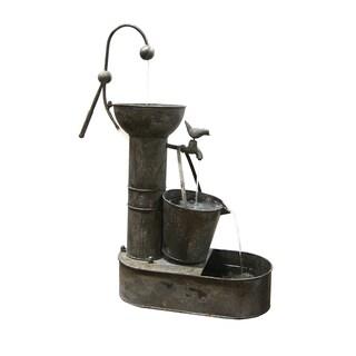 Alpine Rustic Metal Tiering Tin Water Fountain, 34 Inch Tall