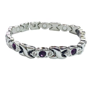 Stainless Steel Crystal Magnetic Bracelet (Option: Blue)