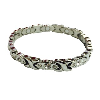 Stainless Steel Crystal Magnetic Bracelet (Option: Clear)