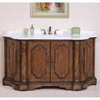 Legion Furniture Volakas White Marble Top Antique Tan Finish 68-inch Single Sink Bathroom Vanity