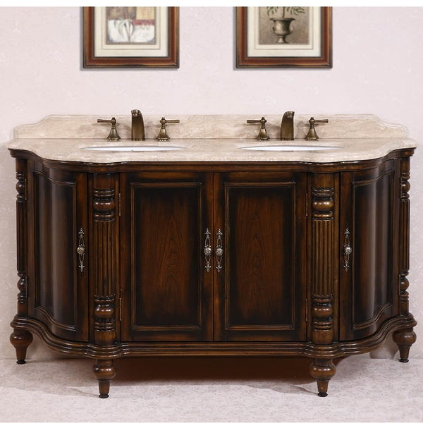 Legion furniture white travertine top antique brown 67 for Antique white double sink bathroom vanities