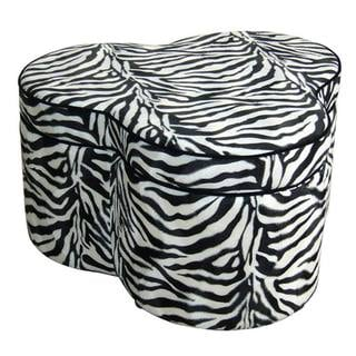 Zebra Print Storage Ottoman with 3 Seats