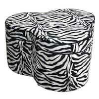 Zebra Print Storage Ottoman with 3 Seats