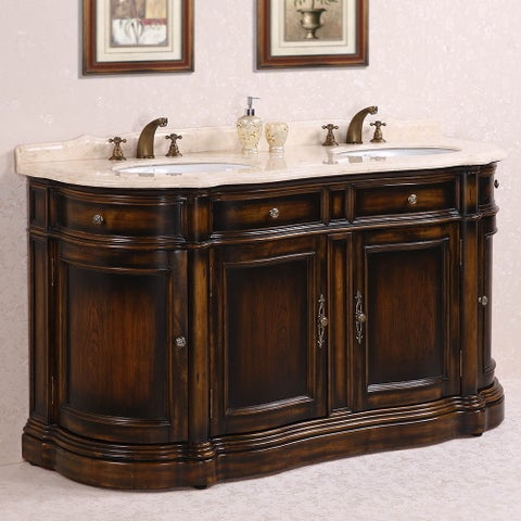 Legion Furniture Myra Beige Marble Top 66-inch Antique Brown Double Sink Bathroom Vanity