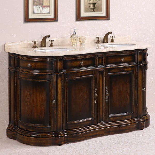 Legion Furniture Myra Beige Marble Top 66 Inch Antique Brown Double Sink Bathroom Vanity