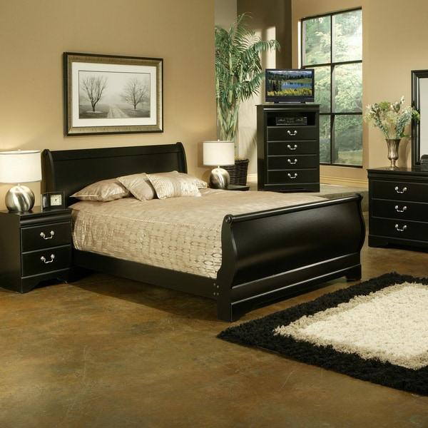 Sandberg Furniture Regency Traditional Black Sleigh Bed