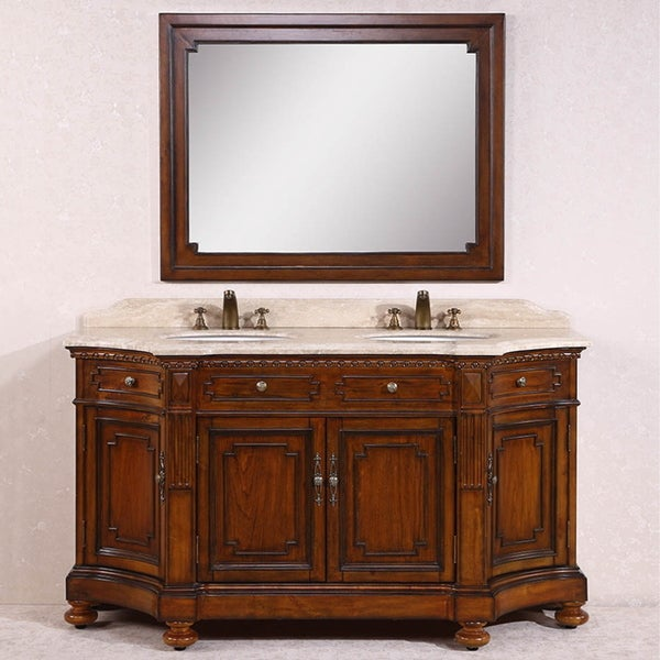 Legion Furniture White Travertine Top Antique Brown 68 Inch Double Sink Bathroom Vanity With