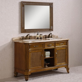 Legion Furniture Woodgrain Yellow Marble Top Light Brown 60-inch Double Sink Bathroom Vanity with Matching Mirror