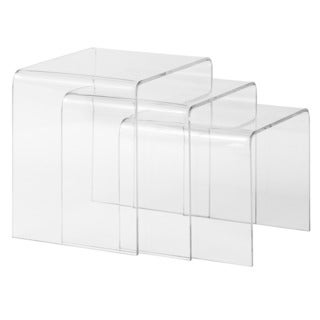 Poly And Bark Burton 3 Piece Clear Nesting Table Set