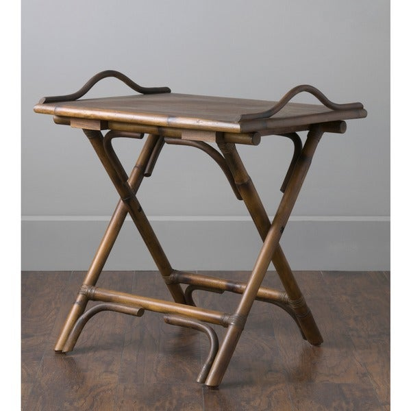 Beau Decorative Brown Rustic Antique Folding Side Table