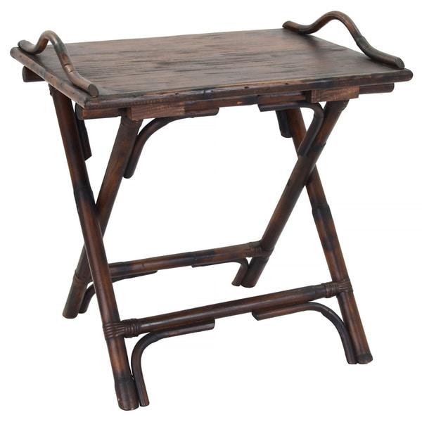 Decorative Brown Rustic Antique Folding Side Table Free