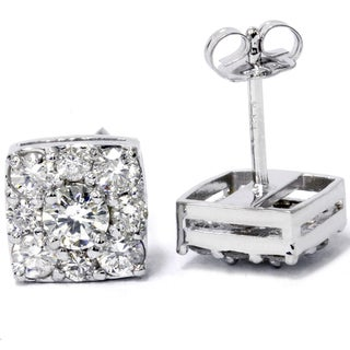 14k White Gold 1 1/ 5ct TDW Cushion-cut Diamond Stud Earrings (I-J, I2-I3)