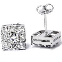 14k White Gold 1 1/ 5ct TDW Cushion-cut Diamond Stud Earrings