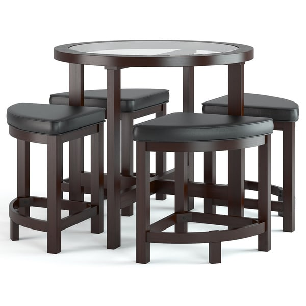 CorLiving Belgrove Dark Espresso Stained Dining Table with Four Stools