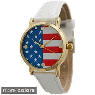 Olivia Pratt Women's Stainless Steel All American Leather Watch