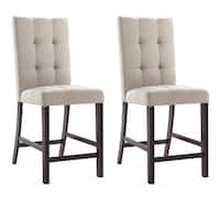 CorLiving Bistro Platinum Sage Tufted Fabric Dining Chairs (Set of 2)