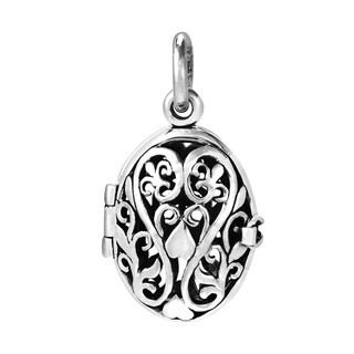 Handmade Blooming Romance Filigree Heart Locket .925 Silver Pendant (Thailand)