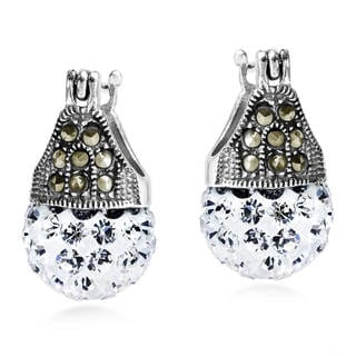 Vintage Flair Marcasite and Crystal .925 Silver Earrings (Thailand)