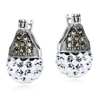Handmade Vintage Marcasite and Crystal Silver Earrings (Thailand)