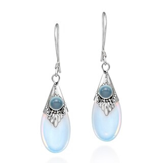 Gorgeous Moonstone Teardrop Sterling Silver Dangle Earrings (Thailand) (More options available)