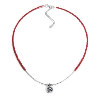 Spiral Swirl Karen Hill Tribe Silver Red Beads Necklace (Thailand)