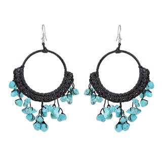 Modern Dangle Blue Turquoise Hoop Chandelier Earrings (Thailand)