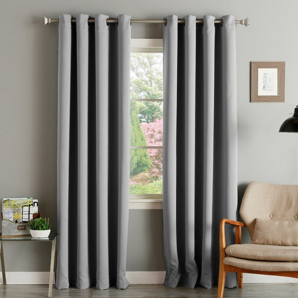 Aurora Home Thermal Insulated Blackout Grommet Top Curtain Panel Pair. Opens flyout.