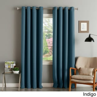 Aurora Home Thermal Insulated Blackout Grommet Top Curtain Panel Pair (52 W X 108 L - Indigo)
