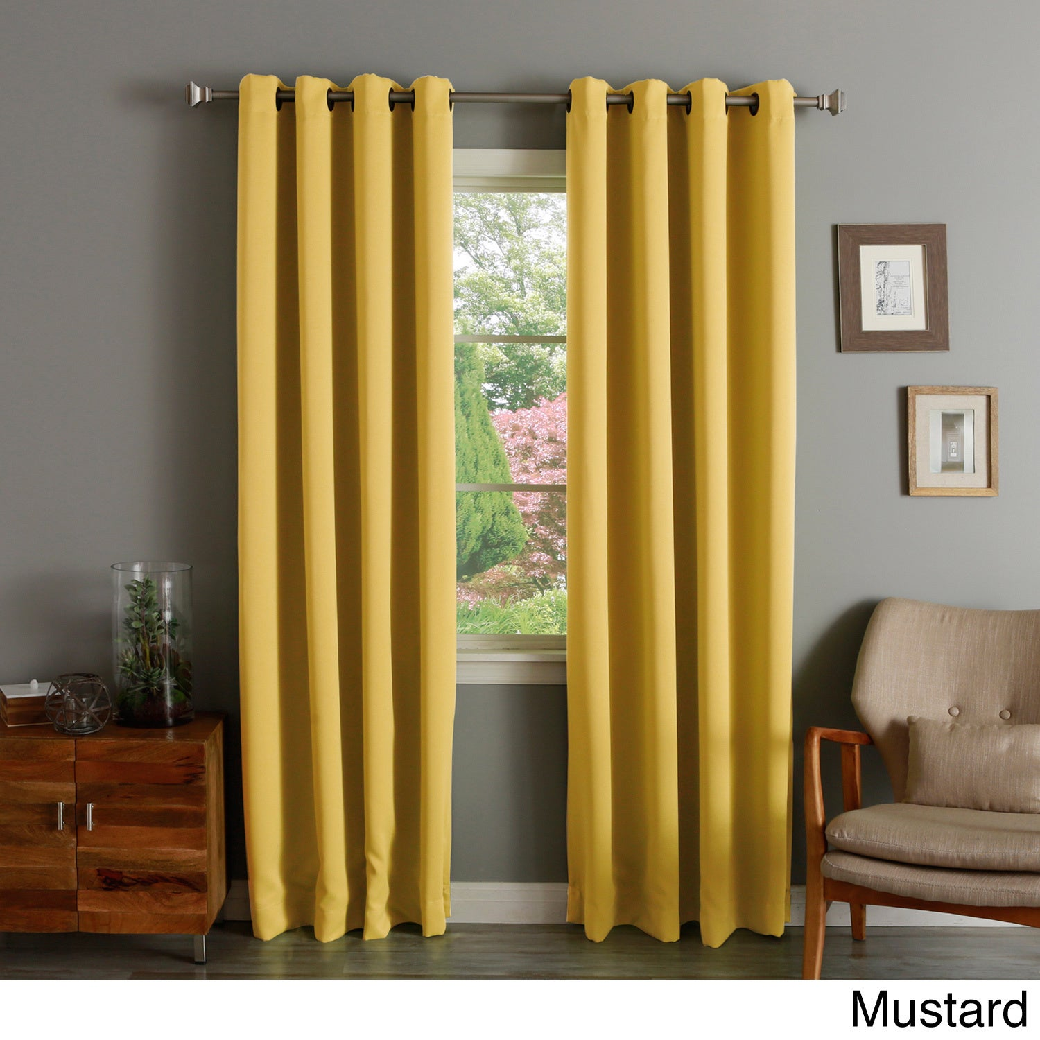 Aurora Home Thermal Insulated Blackout Grommet Top Curtain Panel Pair (3  Options Available)