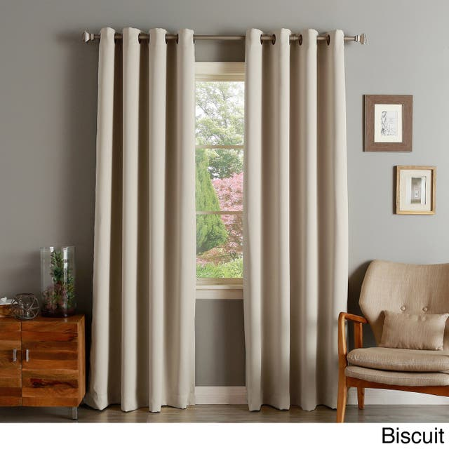"""Aurora Home Thermal Insulated Blackout Grommet Top Curtain Panel Pair - 52"""" w x 96"""" l - Biscuit"""