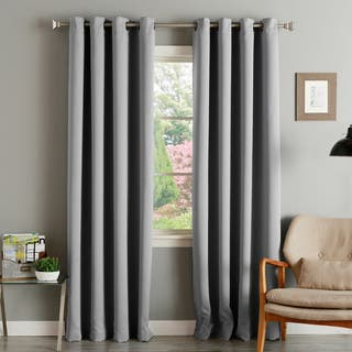 living room drapes. Aurora Home Thermal Insulated Blackout Grommet Top Curtain Panel Pair Curtains  Drapes For Less Overstock com
