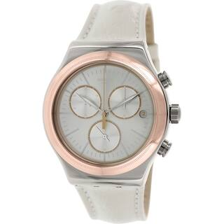 Swatch Men's Irony YVS412 White Leather Silver Dial Swiss Quartz Chronograph Watch|https://ak1.ostkcdn.com/images/products/9515163/P16693732.jpg?impolicy=medium
