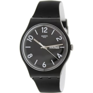Swatch Men's Originals SUOB715 Black Silicone Swiss Quartz Black Dial Watch