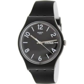 Swatch Men's Originals SUOB715 Black Silicone Swiss Quartz Black Dial Watch