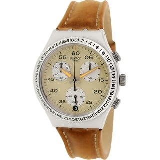 Swatch Men's Irony YCS4053 Chronograph Brown Leather Swiss Quartz Watch