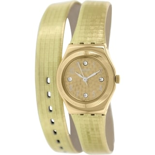 Swatch Women's Irony YSG135 Goldtone Leather Swiss Quartz Watch