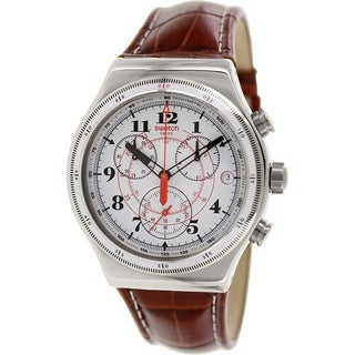 Swatch Men's Irony YVS414 Brown Leather Swiss Quartz Watch