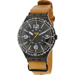 Swatch Men's Irony YWB402 Brown Leather Swiss Quartz Watch with Black Dial|https://ak1.ostkcdn.com/images/products/9515203/P16693769.jpg?impolicy=medium