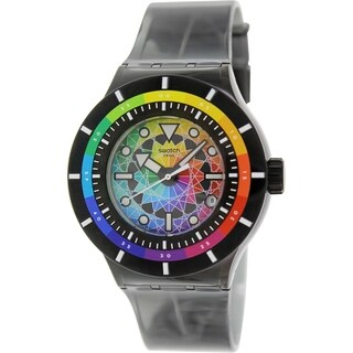Swatch Men's Originals SUUB401 Black Plastic Swiss Quartz Watch with Yellow Dial