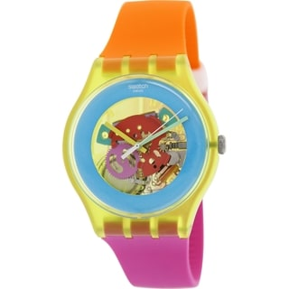 Swatch Men's Originals SUOJ101 Multicolor Silicone Swiss Quartz Watch with Yellow Dial