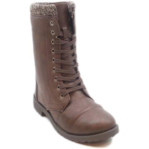 Blue Women's 'Millie Sweat' Lace-up Combat Boots