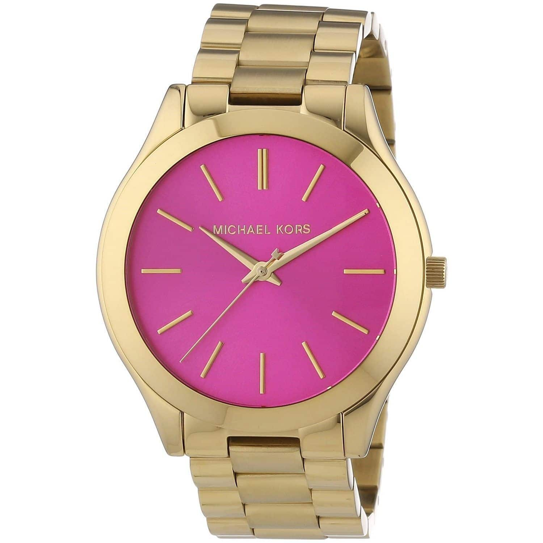 Michael Kors Women's Slim Runway MK3264 Gold Stainless-Steel Quartz Watch with Pink Dial