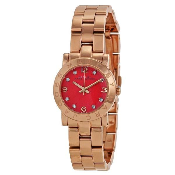 Marc Jacobs Women's MBM3305 Amy Red Dial Rosetone Stainless Steel Watch
