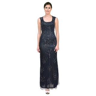 Aidan Mattox Women's Blue Sequined Cut-out Back Dress (Size 6)