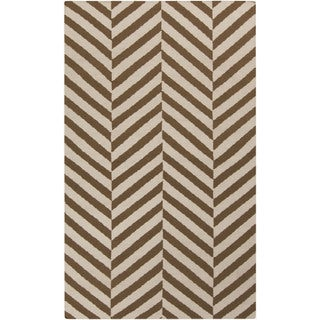 Hand-woven Foshan Flatweave Striped Wool Area Rug (5 x 8 - Beige/Brown)