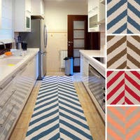 Hand-woven Everett Flatweave Striped Wool Runner Rug (2'6 x 8') - 2'6 x 8'