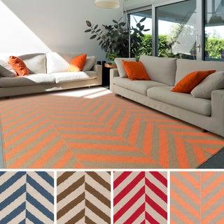 Hand-woven Fontana Flatweave Striped Wool Rug (8' x 11')