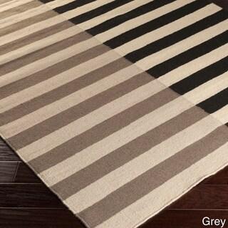 Hand-woven Ferrara Flatweave Striped Wool Rug (8' x 11')