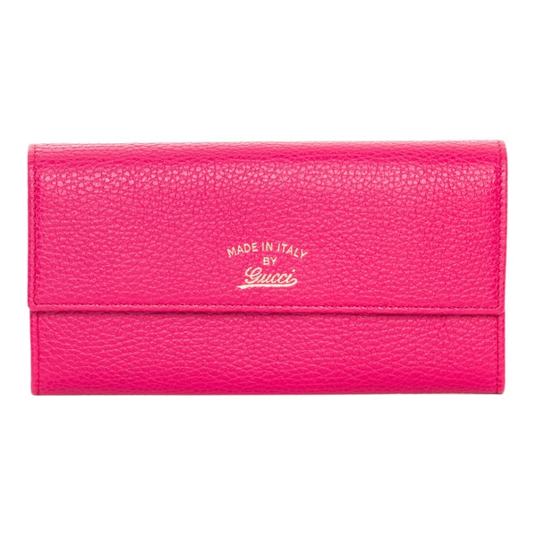 0c76c516212 Shop Gucci  Swing  Fuchsia Leather Continental Wallet - Free ...
