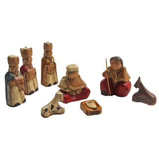 Mini 8-piece Wood Nativity Scene Set (Ecuador)